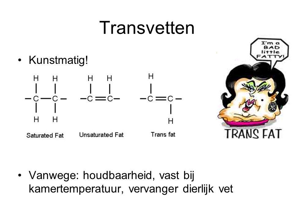 Transvetten Kunstmatig! Vanwege: houdbaarheid, vast bij kamertemperatuur, vervanger dierlijk vet