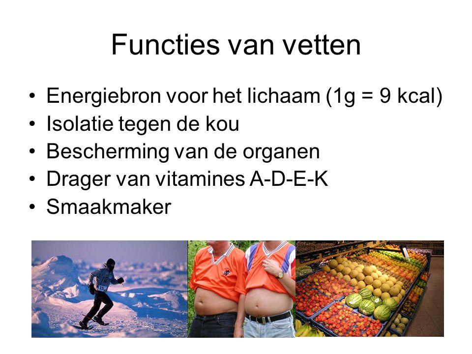 Functies van vetten Energiebron voor het lichaam (1g = 9 kcal) Isolatie tegen de kou Bescherming van de organen Drager van vitamines A-D-E-K Smaakmake