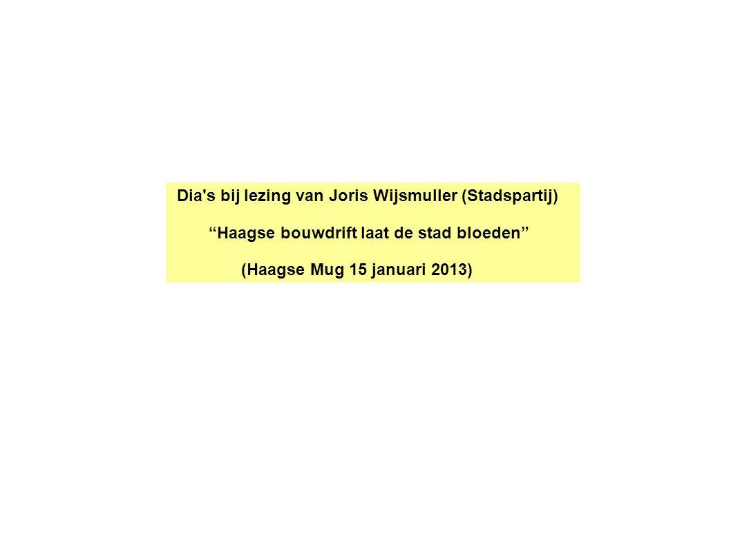 Dia s bij lezing van Joris Wijsmuller (Stadspartij) Haagse bouwdrift laat de stad bloeden (Haagse Mug 15 januari 2013)