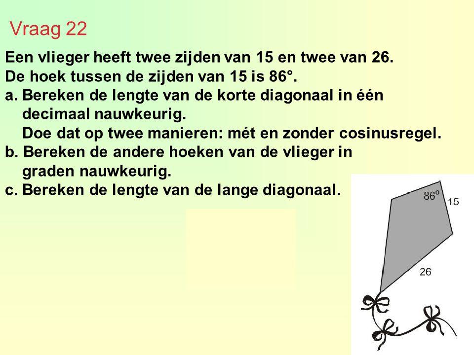 Een vlieger heeft twee zijden van 15 en twee van 26. De hoek tussen de zijden van 15 is 86°. a. Bereken de lengte van de korte diagonaal in één decima
