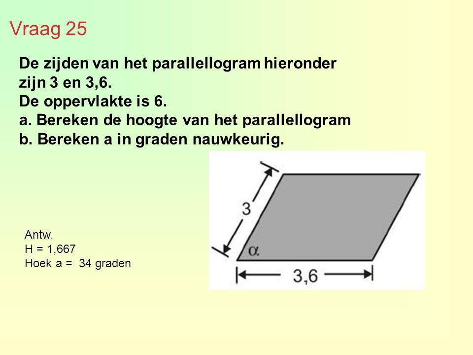 Vraag 25 De zijden van het parallellogram hieronder zijn 3 en 3,6. De oppervlakte is 6. a. Bereken de hoogte van het parallellogram b. Bereken a in gr