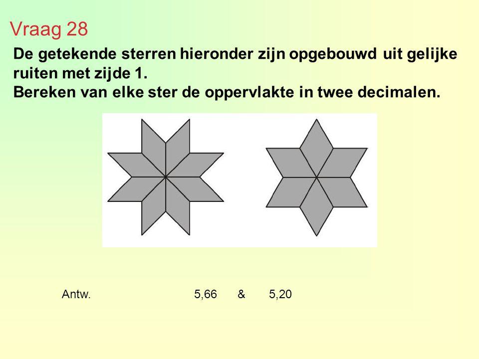 Vraag 28 De getekende sterren hieronder zijn opgebouwd uit gelijke ruiten met zijde 1. Bereken van elke ster de oppervlakte in twee decimalen. Antw. 5