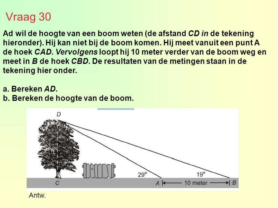 Vraag 30 Ad wil de hoogte van een boom weten (de afstand CD in de tekening hieronder). Hij kan niet bij de boom komen. Hij meet vanuit een punt A de h