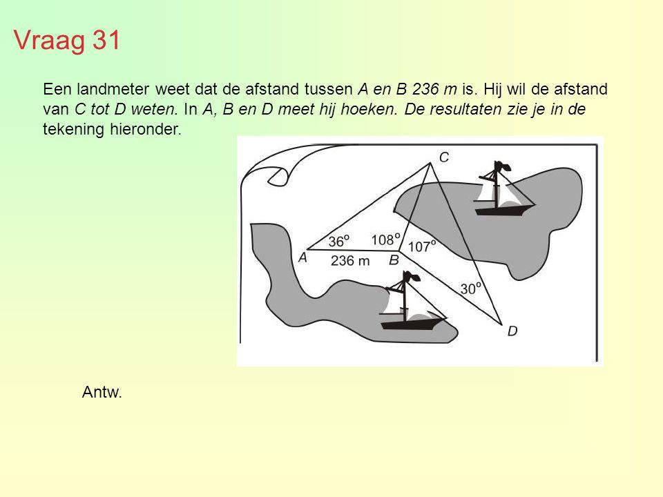 Vraag 31 Een landmeter weet dat de afstand tussen A en B 236 m is. Hij wil de afstand van C tot D weten. In A, B en D meet hij hoeken. De resultaten z