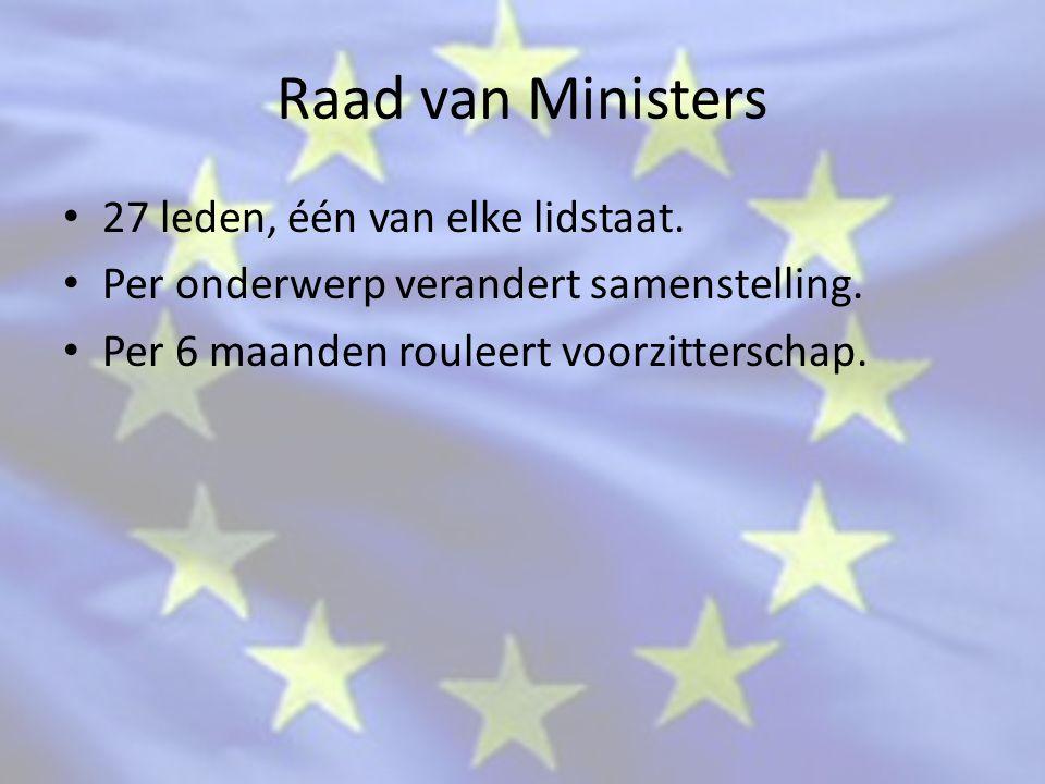 Raad van Ministers 27 leden, één van elke lidstaat.
