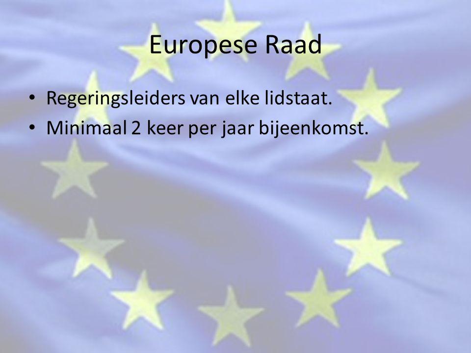 Europese Raad Regeringsleiders van elke lidstaat. Minimaal 2 keer per jaar bijeenkomst.