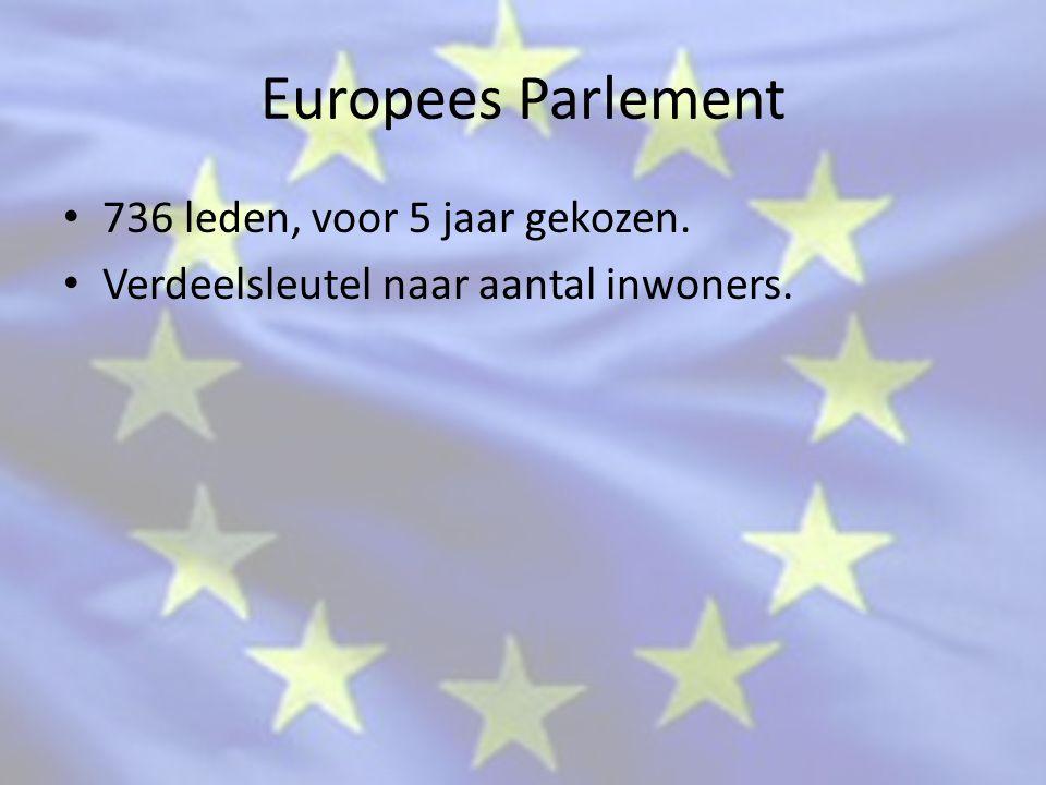 Europees Parlement 736 leden, voor 5 jaar gekozen. Verdeelsleutel naar aantal inwoners.