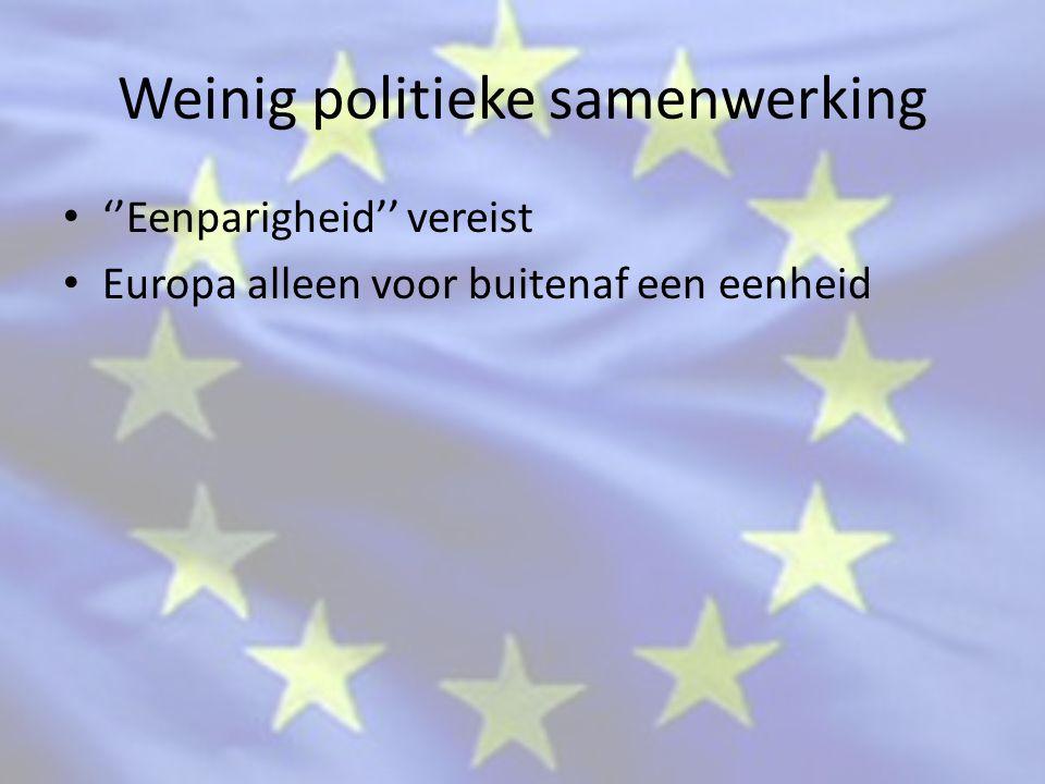 Weinig politieke samenwerking ''Eenparigheid'' vereist Europa alleen voor buitenaf een eenheid