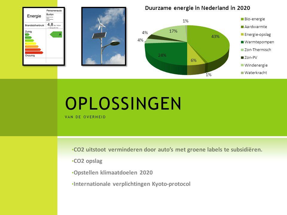 OPLOSSINGEN VAN DE OVERHEID CO2 uitstoot verminderen door auto's met groene labels te subsidiëren. CO2 opslag Opstellen klimaatdoelen 2020 Internation