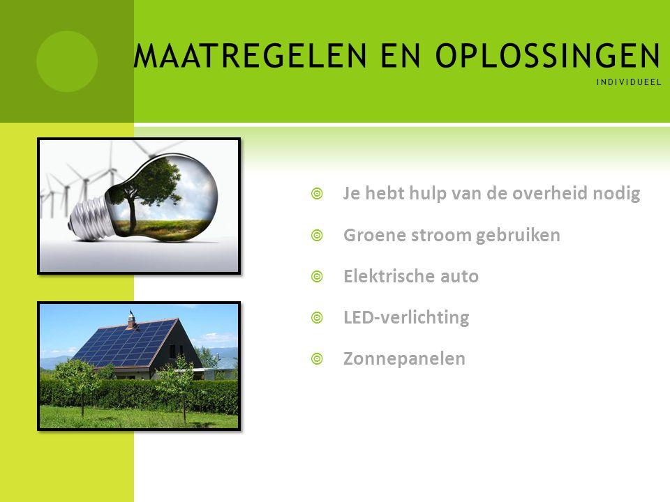 MAATREGELEN EN OPLOSSINGEN INDIVIDUEEL  Je hebt hulp van de overheid nodig  Groene stroom gebruiken  Elektrische auto  LED-verlichting  Zonnepane