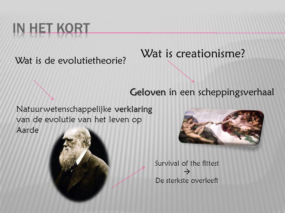 Wat is creationisme? Geloven in een scheppingsverhaal Wat is de evolutietheorie? Natuurwetenschappelijke v vv verklaring van de evolutie van het leven