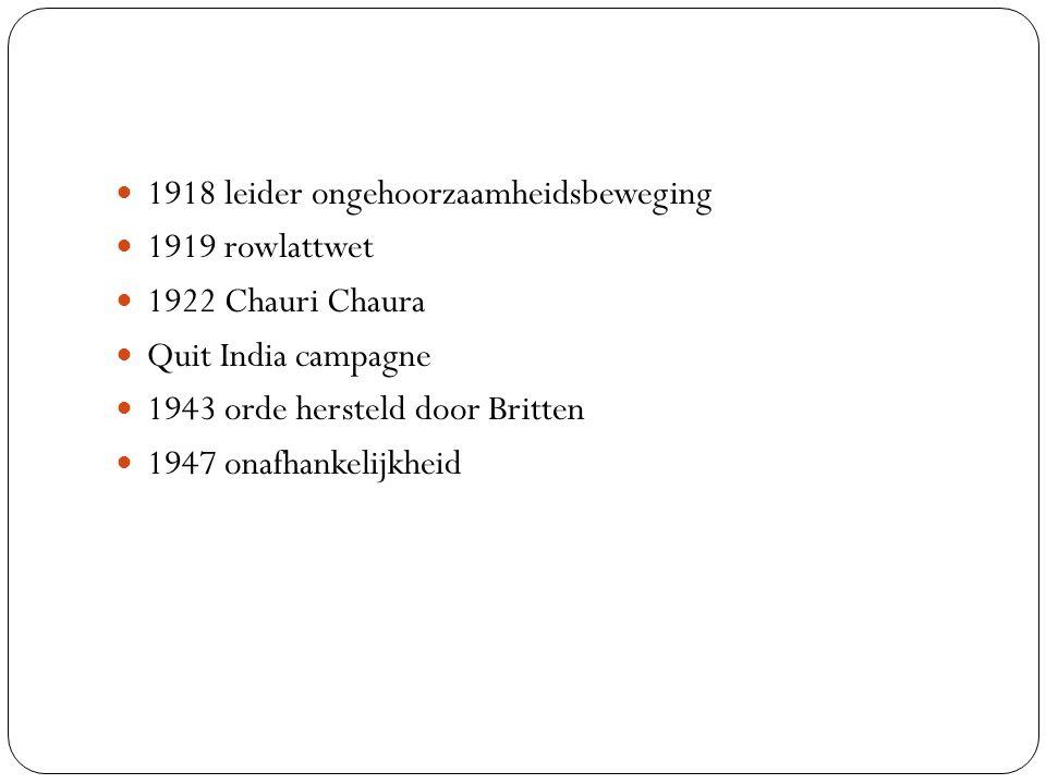 1918 leider ongehoorzaamheidsbeweging 1919 rowlattwet 1922 Chauri Chaura Quit India campagne 1943 orde hersteld door Britten 1947 onafhankelijkheid
