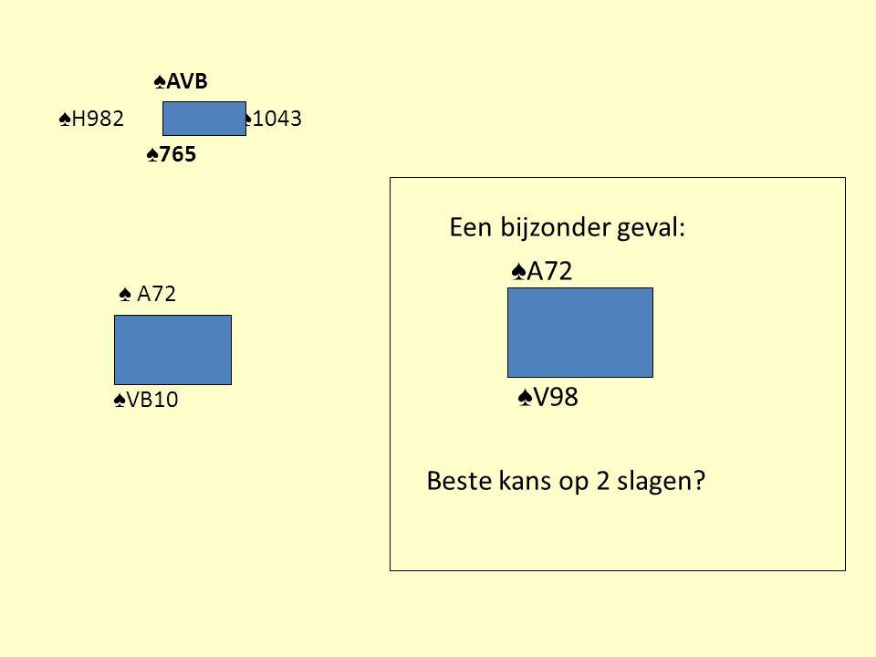♠ AVB ♠ H982 ♠ 1043 ♠ 765 ♠ A72 ♠ VB10 Een bijzonder geval: ♠ A72 ♠ V98 Beste kans op 2 slagen?