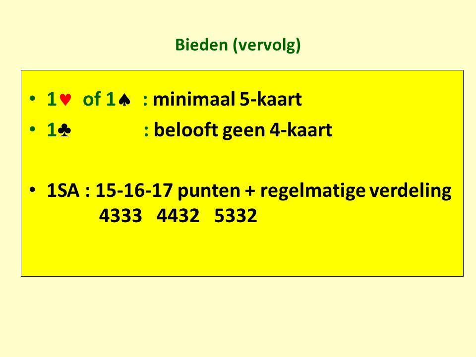 Bieden (vervolg) 1 of 1  : minimaal 5-kaart 1 ♣ : belooft geen 4-kaart 1SA : 15-16-17 punten + regelmatige verdeling 4333 4432 5332