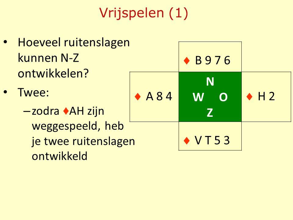 Hoeveel ruitenslagen kunnen N-Z ontwikkelen? Twee: – zodra ♦ AH zijn weggespeeld, heb je twee ruitenslagen ontwikkeld Vrijspelen (1)  B 9 7 6  A 8