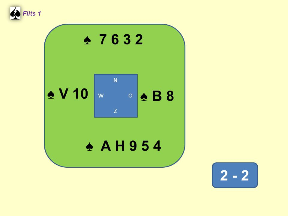 V ♠ 7 6 3 2 Flits 1 2 - 2 ♠ A H 9 5 4 N W O Z ♠ V 10 ♠ B 8