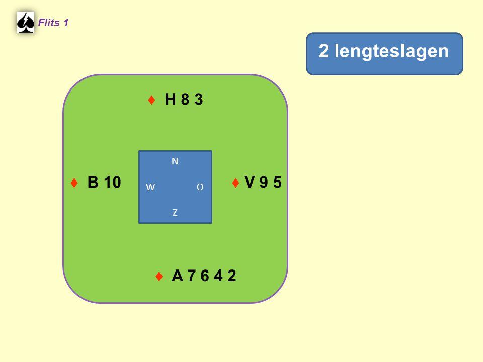 ♦ H 8 3 Flits 1 ♦ V 9 5♦ B 10 ♦ A 7 6 4 2 2 lengteslagen N W O Z