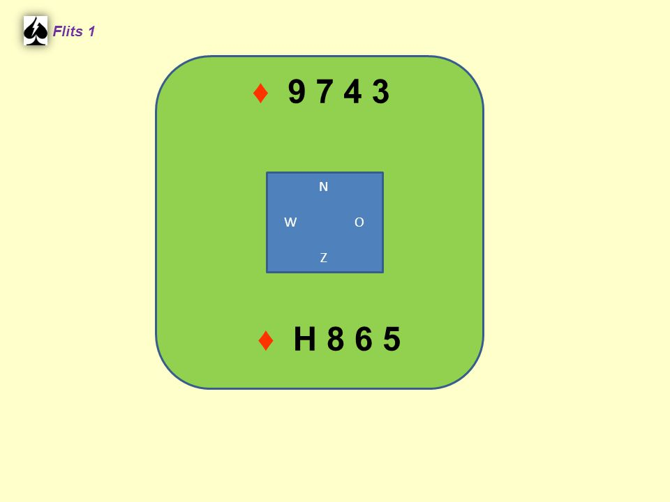 ♦ 9 7 4 3 Flits 1 ♦ H 8 6 5 N W O Z