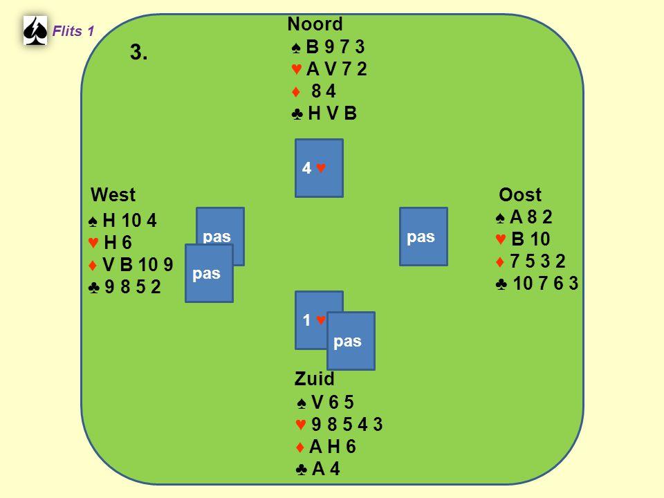 Zuid ♠ V 6 5 ♥ 9 8 5 4 3 ♦ A H 6 ♣ A 4 West ♠ H 10 4 ♥ H 6 ♦ V B 10 9 ♣ 9 8 5 2 Noord ♠ B 9 7 3 ♥ A V 7 2 ♦ 8 4 ♣ H V B Oost ♠ A 8 2 ♥ B 10 ♦ 7 5 3 2