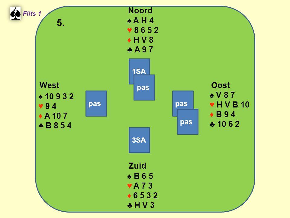 Zuid ♠ B 6 5 ♥ A 7 3 ♦ 6 5 3 2 ♣ H V 3 West ♠ 10 9 3 2 ♥ 9 4 ♦ A 10 7 ♣ B 8 5 4 Noord ♠ A H 4 ♥ 8 6 5 2 ♦ H V 8 ♣ A 9 7 Oost ♠ V 8 7 ♥ H V B 10 ♦ B 9