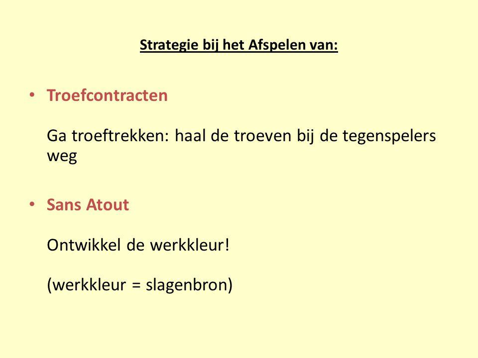 Strategie bij het Afspelen van: Troefcontracten Ga troeftrekken: haal de troeven bij de tegenspelers weg Sans Atout Ontwikkel de werkkleur.