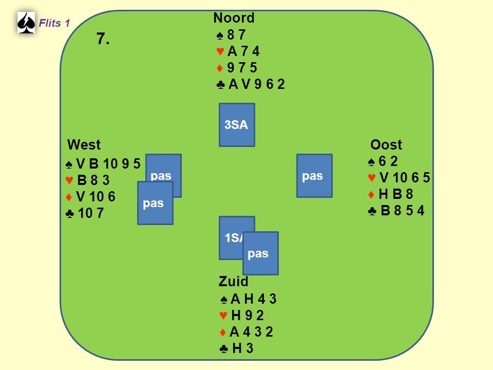Zuid ♠ A H 4 3 ♥ H 9 2 ♦ A 4 3 2 ♣ H 3 West ♠ V B 10 9 5 ♥ B 8 3 ♦ V 10 6 ♣ 10 7 Noord ♠ 8 7 ♥ A 7 4 ♦ 9 7 5 ♣ A V 9 6 2 Oost ♠ 6 2 ♥ V 10 6 5 ♦ H B 8 ♣ B 8 5 4 7.