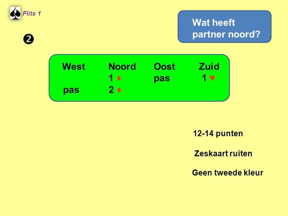 Flits 1 12-14 punten Zeskaart ruiten Geen tweede kleur WestNoordOostZuid 1 ♦ pas 1 ♥ pas 2 ♦ Wat heeft partner noord? 