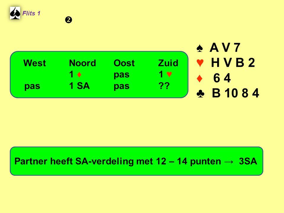 Flits 1 ♠ A V 7 ♥ H V B 2 ♦ 6 4 ♣ B 10 8 4 Partner heeft SA-verdeling met 12 – 14 punten → 3SA WestNoordOostZuid 1 ♦ pas 1 ♥ pas1 SApas?? 