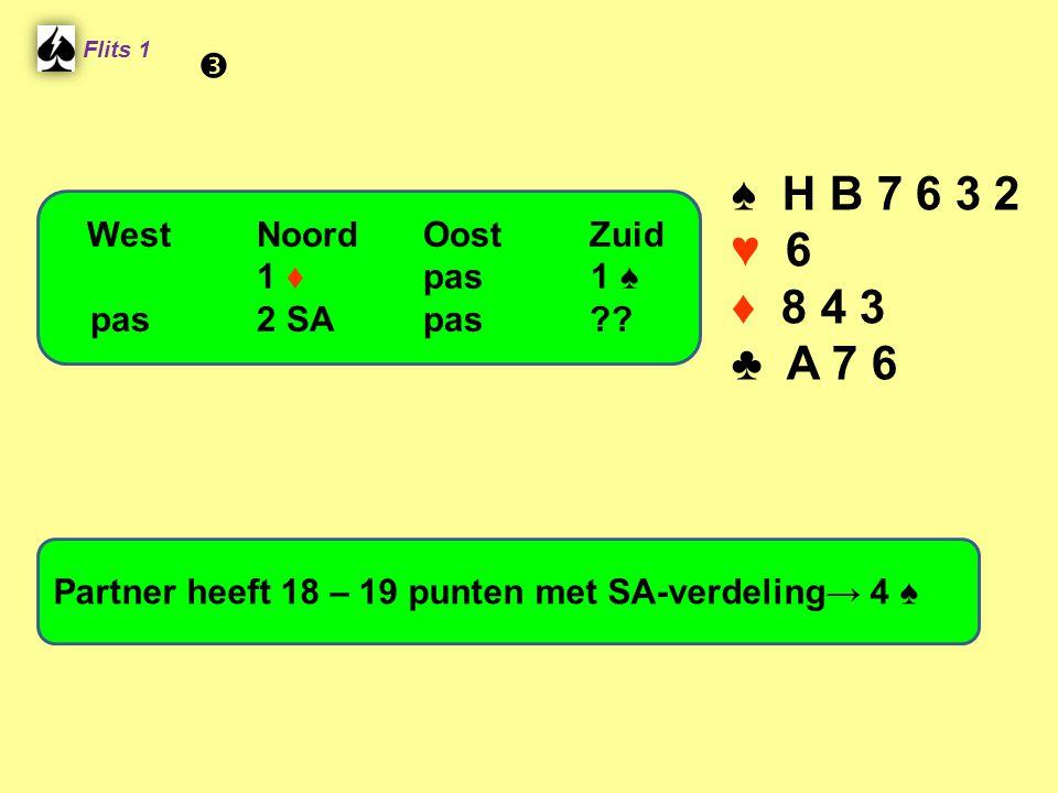 Flits 1 ♠ H B 7 6 3 2 ♥ 6 ♦ 8 4 3 ♣ A 7 6 Partner heeft 18 – 19 punten met SA-verdeling→ 4 ♠ WestNoordOostZuid 1 ♦ pas 1 ♠ pas2 SApas?? 