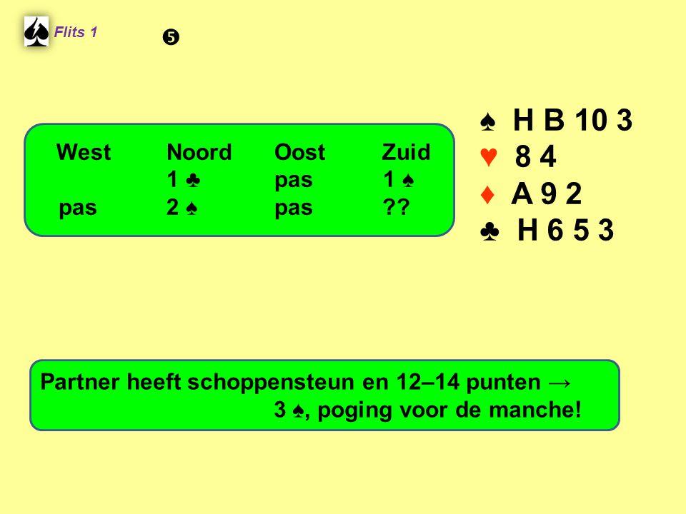 Flits 1 ♠ H B 10 3 ♥ 8 4 ♦ A 9 2 ♣ H 6 5 3 Partner heeft schoppensteun en 12–14 punten → 3 ♠, poging voor de manche! WestNoordOostZuid 1 ♣ pas 1 ♠ pas