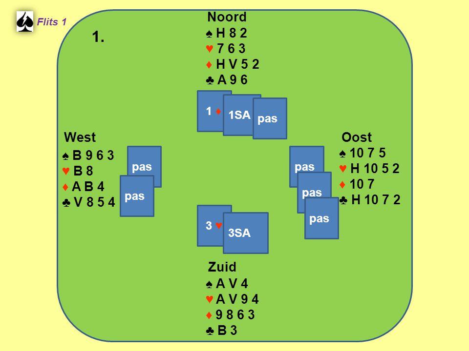 Zuid ♠ A V 4 ♥ A V 9 4 ♦ 9 8 6 3 ♣ B 3 West ♠ B 9 6 3 ♥ B 8 ♦ A B 4 ♣ V 8 5 4 Noord ♠ H 8 2 ♥ 7 6 3 ♦ H V 5 2 ♣ A 9 6 Oost ♠ 10 7 5 ♥ H 10 5 2 ♦ 10 7