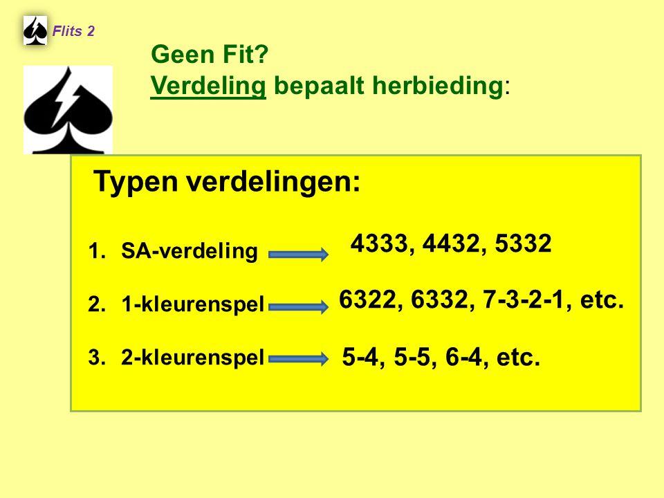 4333, 4432, 5332 Flits 2 1.SA-verdeling 2.1-kleurenspel 3.2-kleurenspel 5-4, 5-5, 6-4, etc. 6322, 6332, 7-3-2-1, etc. Typen verdelingen: Geen Fit? Ver