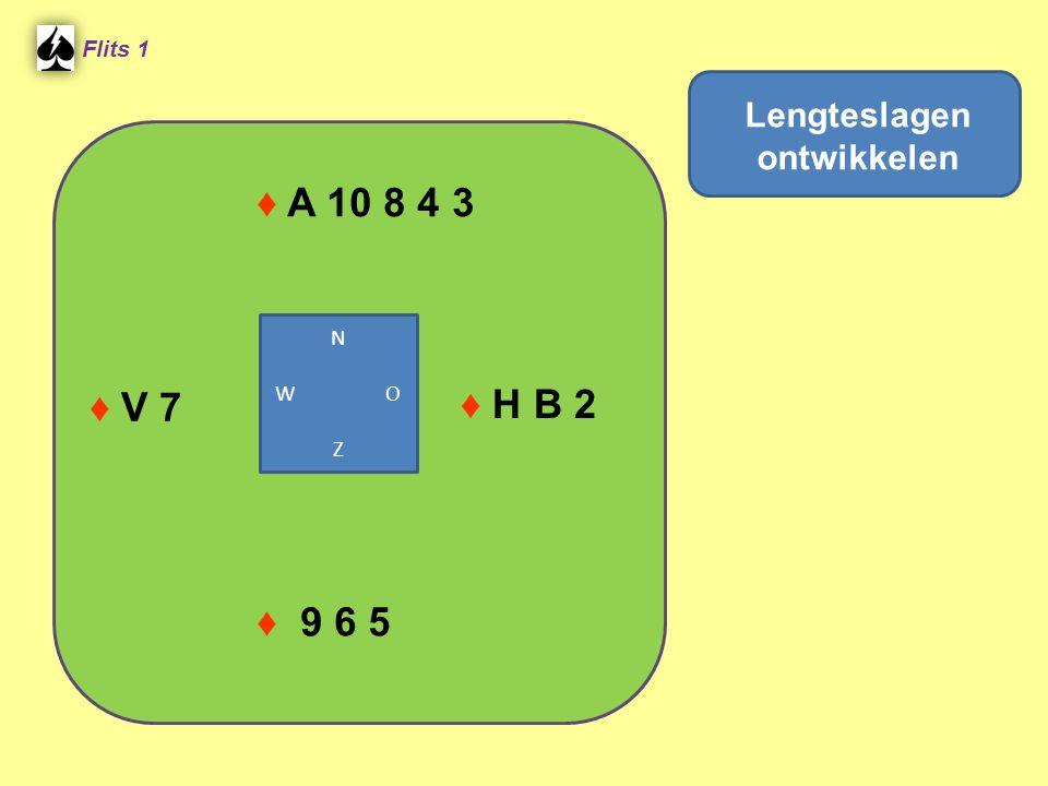 ♦ A 10 8 4 3 Flits 1 ♦ H B 2 ♦ 9 6 5 ♦ V 7 Lengteslagen ontwikkelen N W O Z