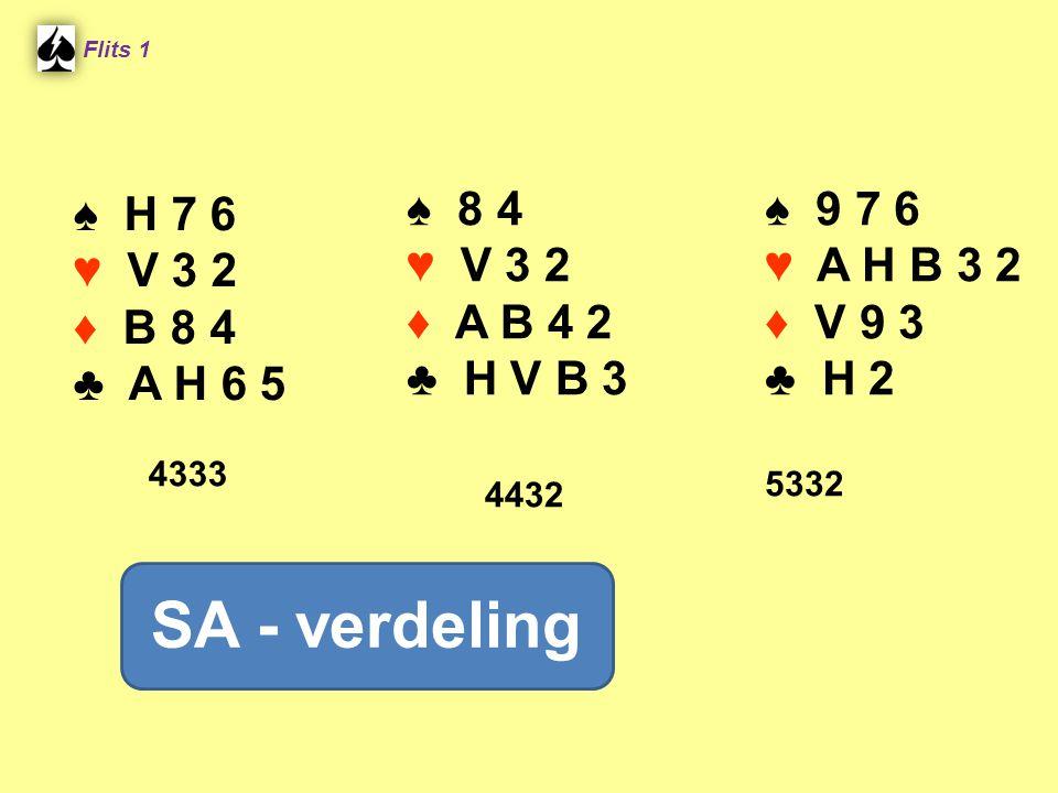 ♠ H 7 6 ♥ V 3 2 ♦ B 8 4 ♣ A H 6 5 ♠ 8 4 ♥ V 3 2 ♦ A B 4 2 ♣ H V B 3 4432 Flits 1 ♠ 9 7 6 ♥ A H B 3 2 ♦ V 9 3 ♣ H 2 5332 SA - verdeling 4333