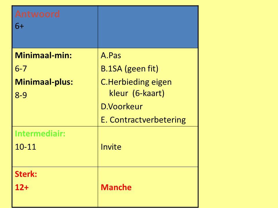 Antwoord 6+ Minimaal-min: 6-7 Minimaal-plus: 8-9 A.Pas B.1SA (geen fit) C.Herbieding eigen kleur (6-kaart) D.Voorkeur E. Contractverbetering Intermedi