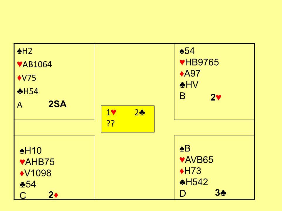1 ♥ 2 ♣ ?? ♠ H2 ♥ AB1064 ♦ V75 ♣ H54 A ♠54 ♥HB9765 ♦A97 ♣HV B 2SA 2♥2♥ ♠H10 ♥AHB75 ♦V1098 ♣54 C 2♦2♦ ♠B ♥AVB65 ♦H73 ♣H542 D 3♣