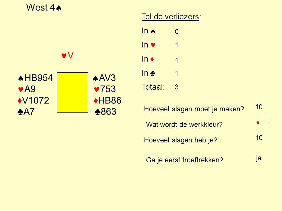 Noord Flits 1 ♠ 8 6 ♥ H 9 3 ♦ A H B 7 6 ♣ V 9 2 WestNoordOostZuid 1 ♥ ?? 2 ♦ 