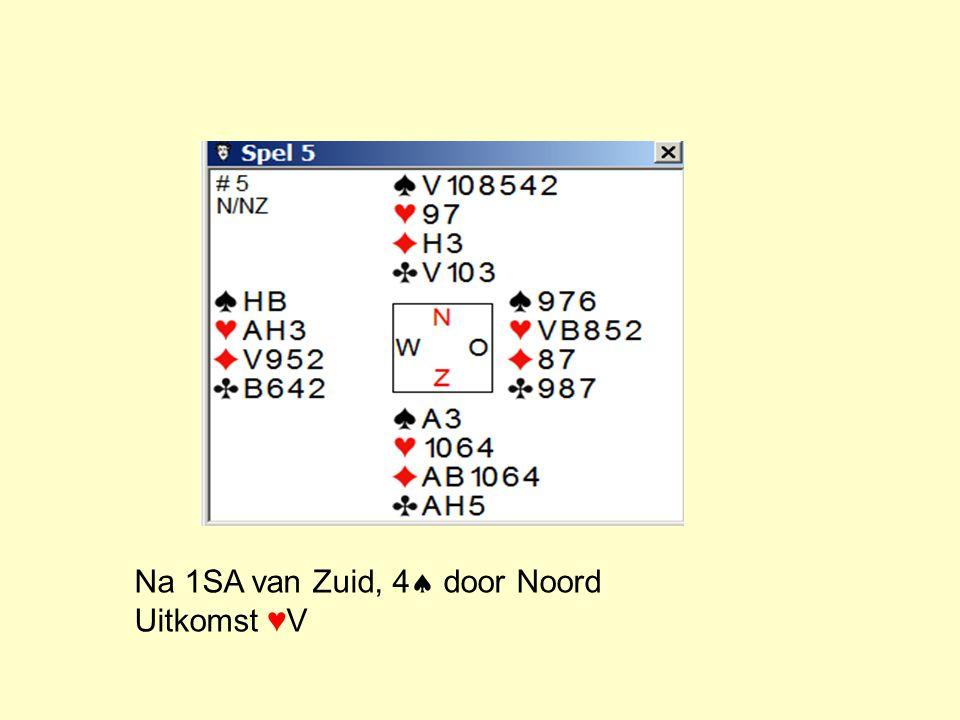 West 4  10  AVB1054  H8 AH9 B3 ♦V ♦B8653 ♣V97 ♣B1063 Tel de verliezers: In  In In ♦ In ♣ Totaal: Eerste slag: 10, B, V en A Dan dus H9 tegenover 3 0 1 1 2 4 1 verliezer teveel: hoe weg te werken.