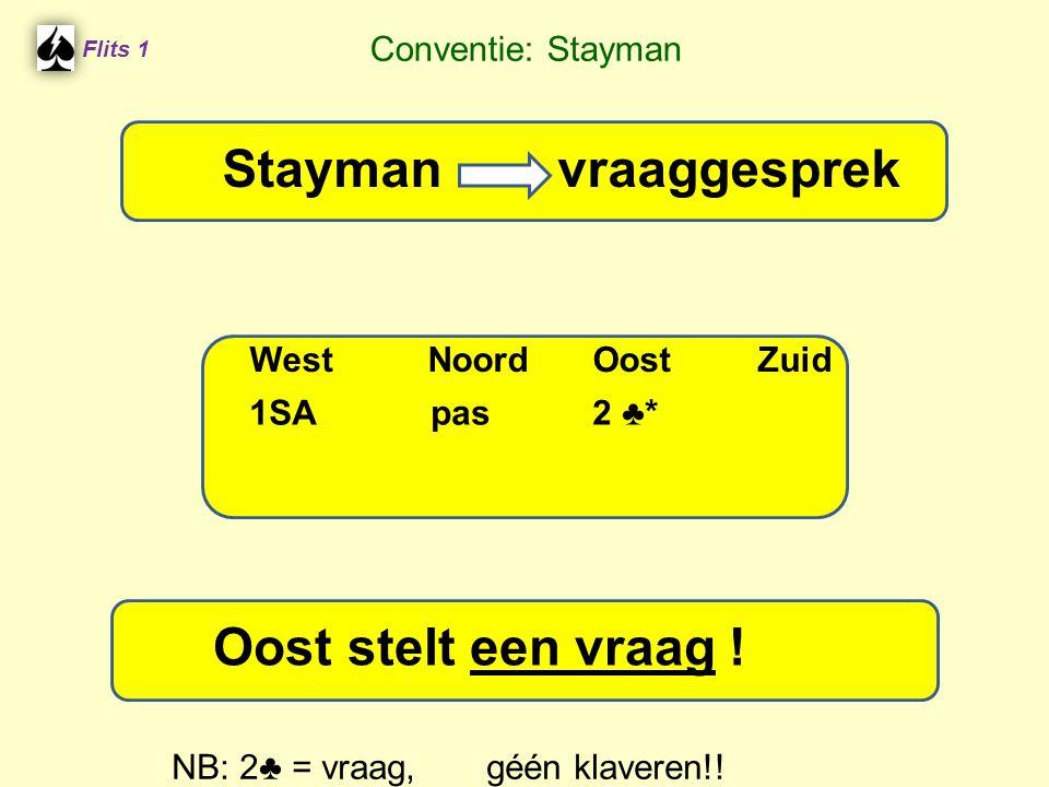 Flits 1 Stayman vraaggesprek WestNoordOostZuid Oost stelt een vraag ! Stayman vraaggesprek 1SA pas 2 ♣ * Conventie: Stayman NB: 2♣ = vraag, géén klave