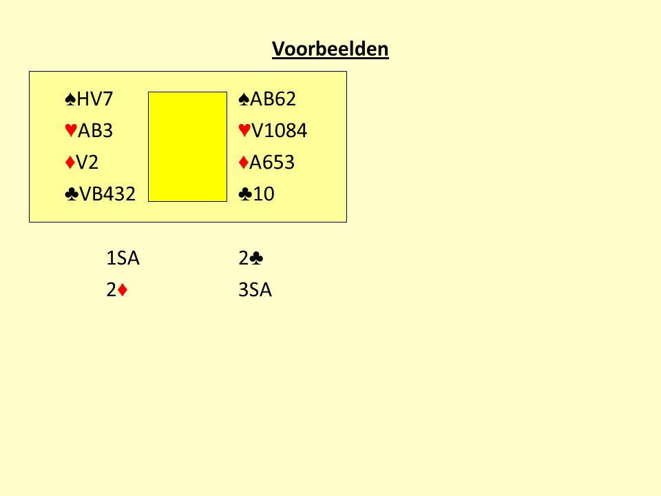 Voorbeelden ♠ HV7 ♠ AB62 ♥ AB3 ♥ V1084 ♦ V2 ♦ A653 ♣ VB432 ♣ 10 1SA2 ♣ 2 ♦ 3SA