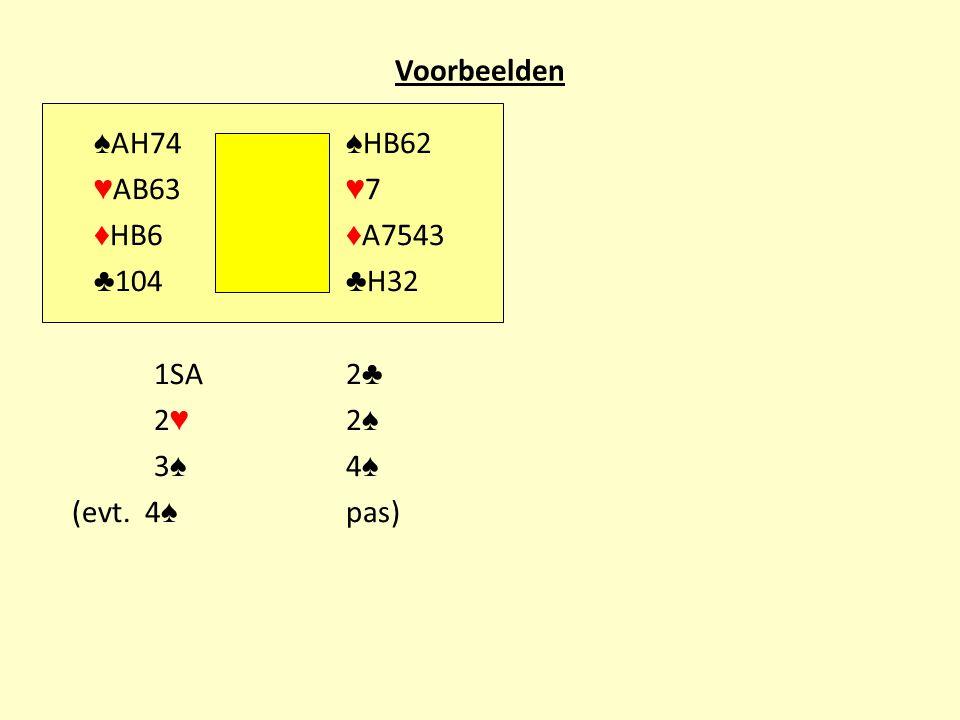 Voorbeelden ♠ AH74 ♠ HB62 ♥ AB63 ♥ 7 ♦ HB6 ♦ A7543 ♣ 104 ♣ H32 1SA2 ♣ 2 ♥ 2 ♠ 3 ♠ 4 ♠ (evt. 4 ♠ pas)