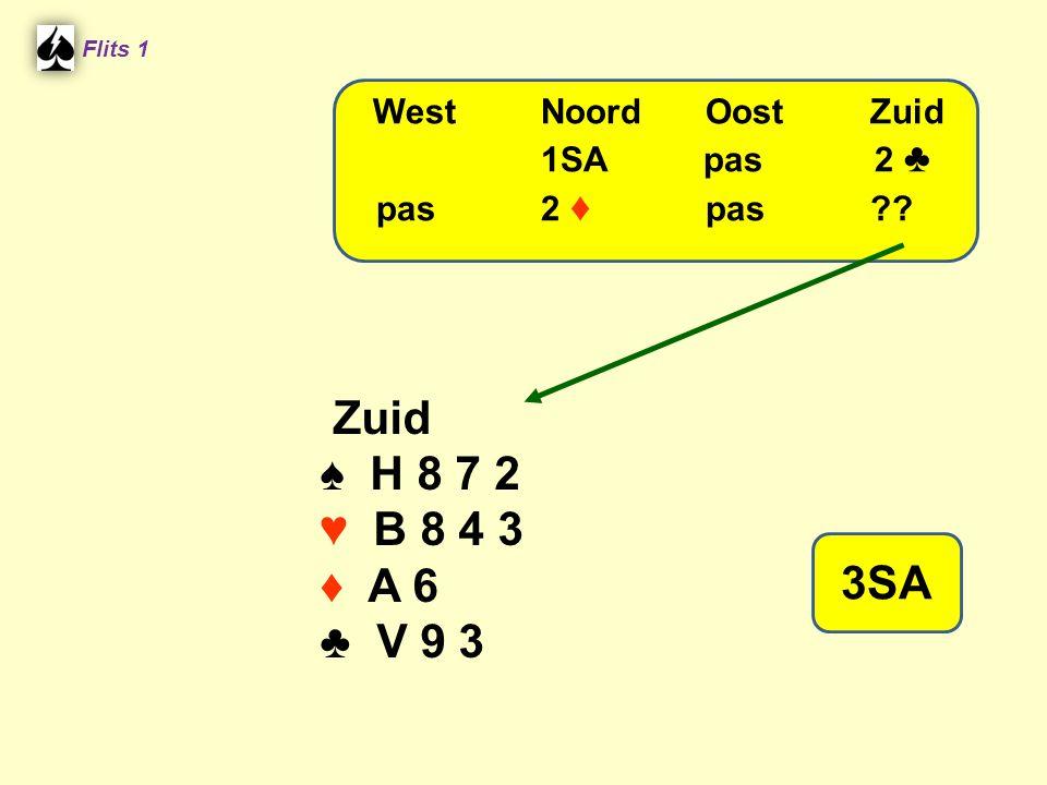 Flits 1 Zuid ♠ H 8 7 2 ♥ B 8 4 3 ♦ A 6 ♣ V 9 3 WestNoordOostZuid 1SA pas 2 ♣ pas2 ♦ pas?? 3SA