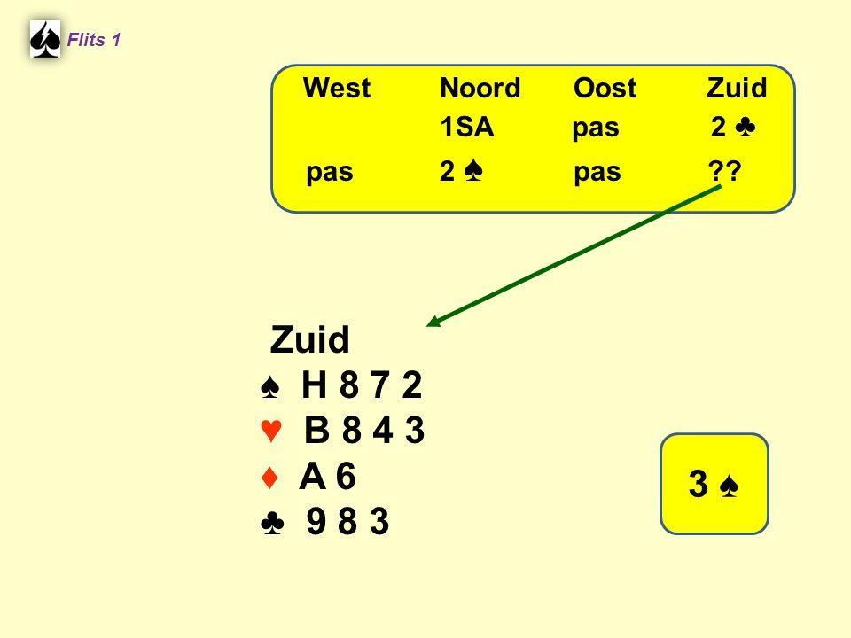 Flits 1 Zuid ♠ H 8 7 2 ♥ B 8 4 3 ♦ A 6 ♣ 9 8 3 WestNoordOostZuid 1SA pas 2 ♣ pas2 ♠ pas?? 3 ♠