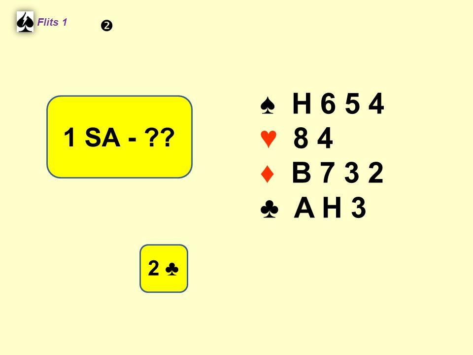 ♠ H 6 5 4 ♥ 8 4 ♦ B 7 3 2 ♣ A H 3 Flits 1 1 SA - ?? 2 ♣ 