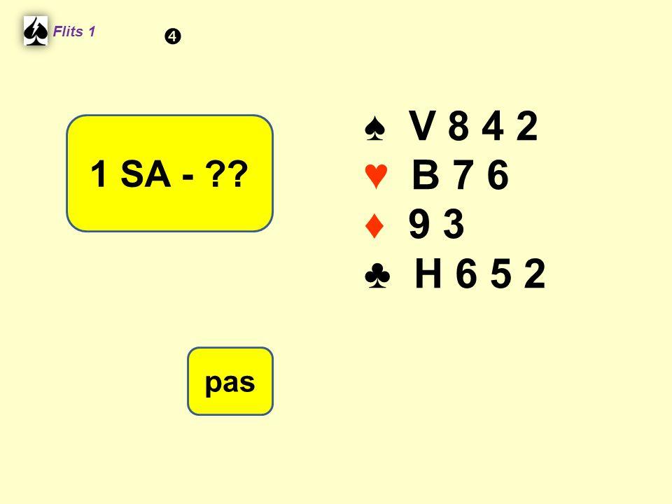 ♠ V 8 4 2 ♥ B 7 6 ♦ 9 3 ♣ H 6 5 2 Flits 1 1 SA - ?? pas 