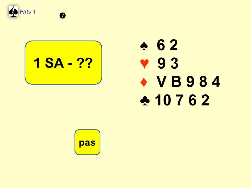 ♠ 6 2 ♥ 9 3 ♦ V B 9 8 4 ♣ 10 7 6 2 Flits 1 1 SA - ?? pas 