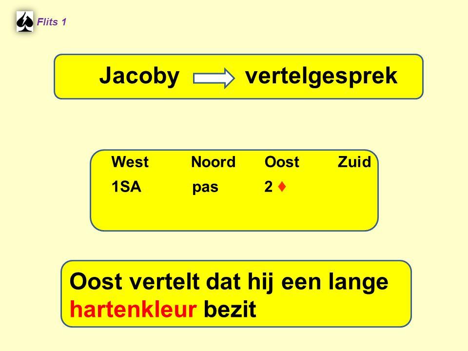 Flits 1 Stayman vraaggesprek WestNoordOostZuid Oost vertelt dat hij een lange hartenkleur bezit Jacoby vertelgesprek 1SA pas 2 ♦