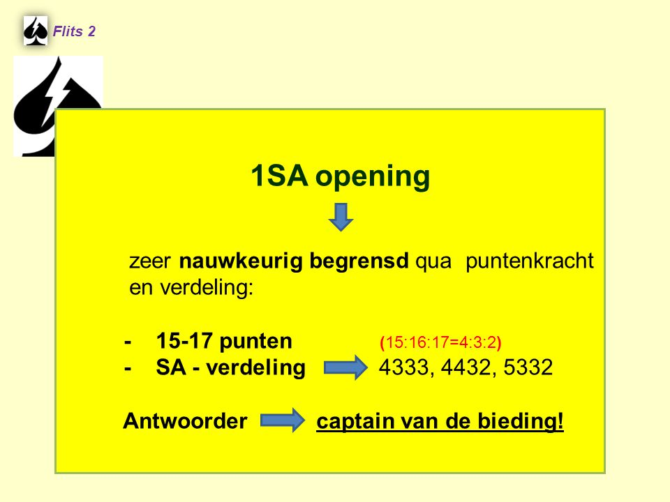 Flits 2 1SA opening zeer nauwkeurig begrensd qua puntenkracht en verdeling: - 15-17 punten (15:16:17=4:3:2) - SA - verdeling 4333, 4432, 5332 Antwoord
