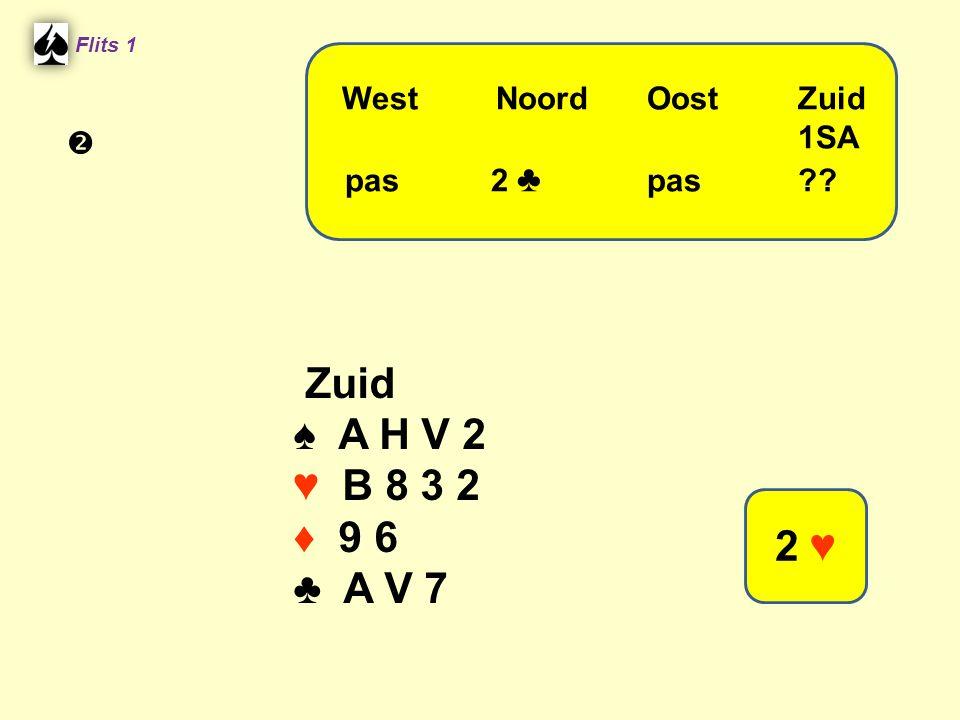 Flits 1 Zuid ♠ A H V 2 ♥ B 8 3 2 ♦ 9 6 ♣ A V 7 WestNoordOostZuid 1SA pas 2 ♣ pas?? 2 ♥ 