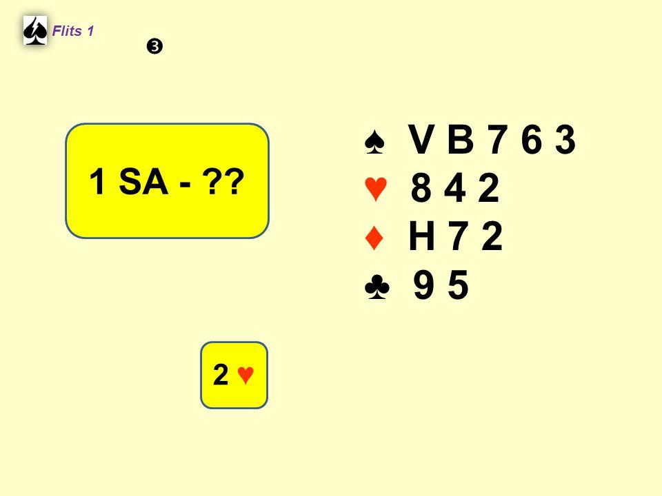 ♠ V B 7 6 3 ♥ 8 4 2 ♦ H 7 2 ♣ 9 5 Flits 1 1 SA - ?? 2 ♥ 